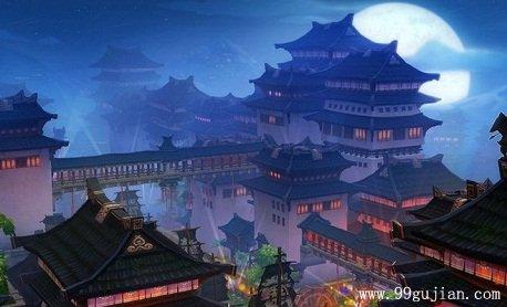 古代夜下闹市美景手绘