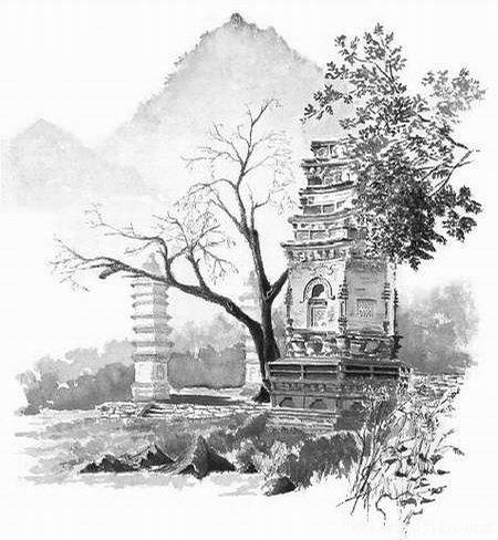 大延圣寺手绘图-手绘古建筑图片-99古建网