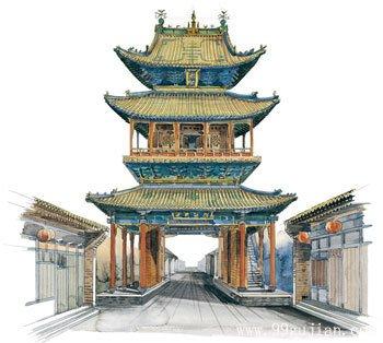 山西平遥古城市楼手绘图