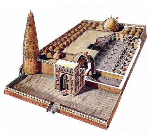 新疆吐鲁番苏公塔礼拜寺手绘图