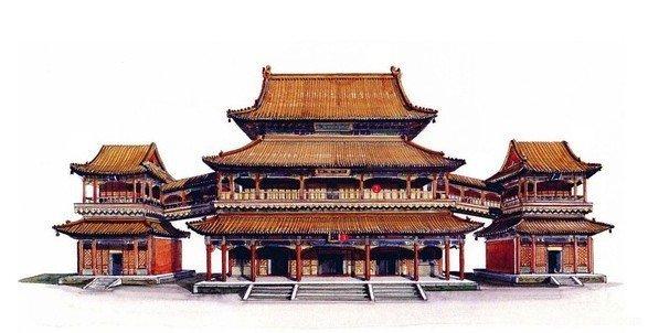 北京雍和宫万福阁手绘图_手绘古建筑图片_99古建网