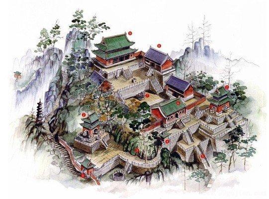 湖北武当山南岩宫鸟瞰图手绘-手绘古建筑图片-99古建