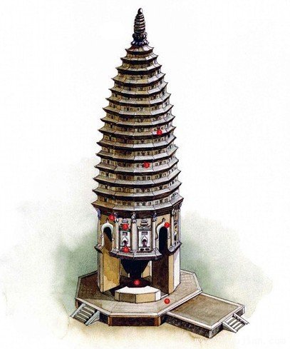 嵩岳寺塔手绘图-手绘古建筑图片-99古建网