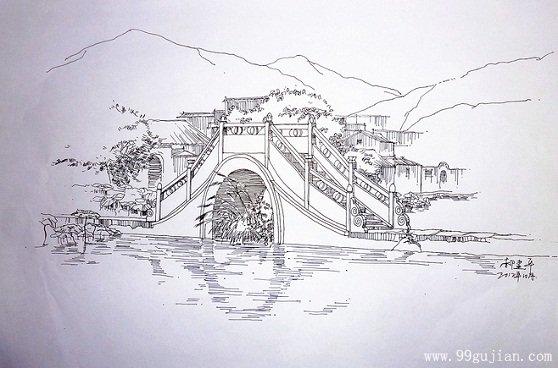 古建桥梁手绘图片_桥梁素描图