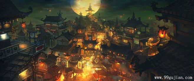 灯火辉煌古建场景手绘图